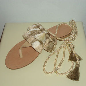 New Zara Sold Out Fringe Flat Lace Up Sandals Sz.6
